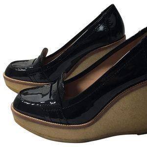 YSL black patent loafer wedges